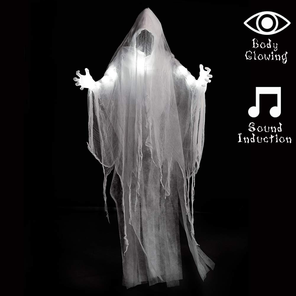 SUPERJARE 66 Inch Halloween Hanging White Ghost, Faceless Ghost with Scary Sound Induction and Lighting Effect, Party Yard Decor