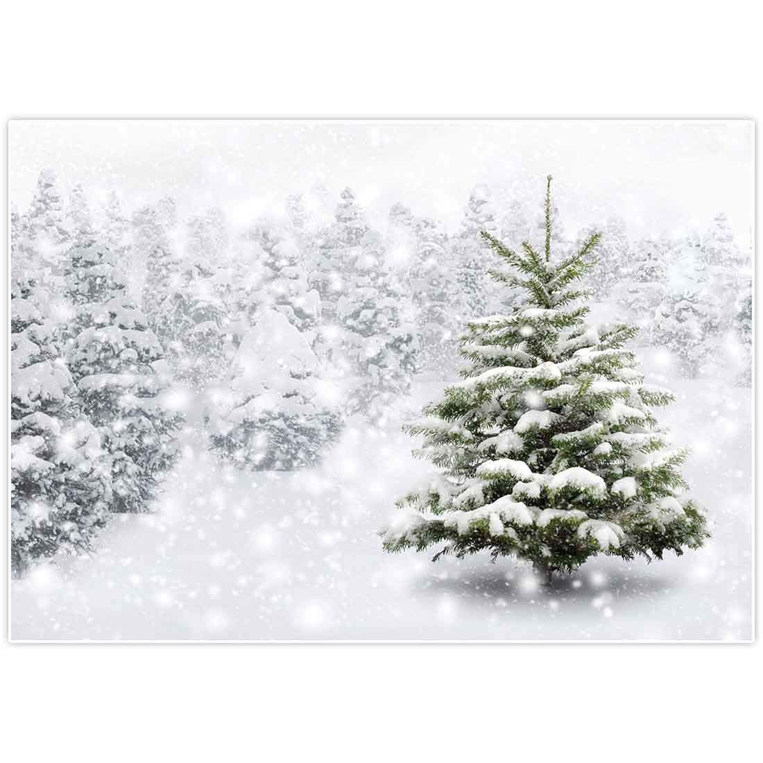 Allenjoy 7x5ft Christmas Xmas New Year Photography Backdrop Background Snow Trees Holiday Party Decorations Winter Forest Baby Shower Snowflake Pine Snowy Photo Booth Props Supplies