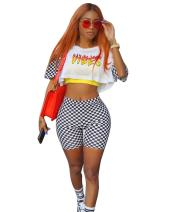 Memoryee Morye Women's 2 Pieces Outfits Printed Top and Tight Shorts Set Jumpsuits