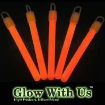 """Glow Sticks Bulk Wholesale, 50 4"""" Orange Glow Stick Light Sticks. Bright Color, Kids Love Them! Glow 8-12 Hrs, 2-Year Shelf Life, Sturdy Packaging, GlowWithUs Brand…"""