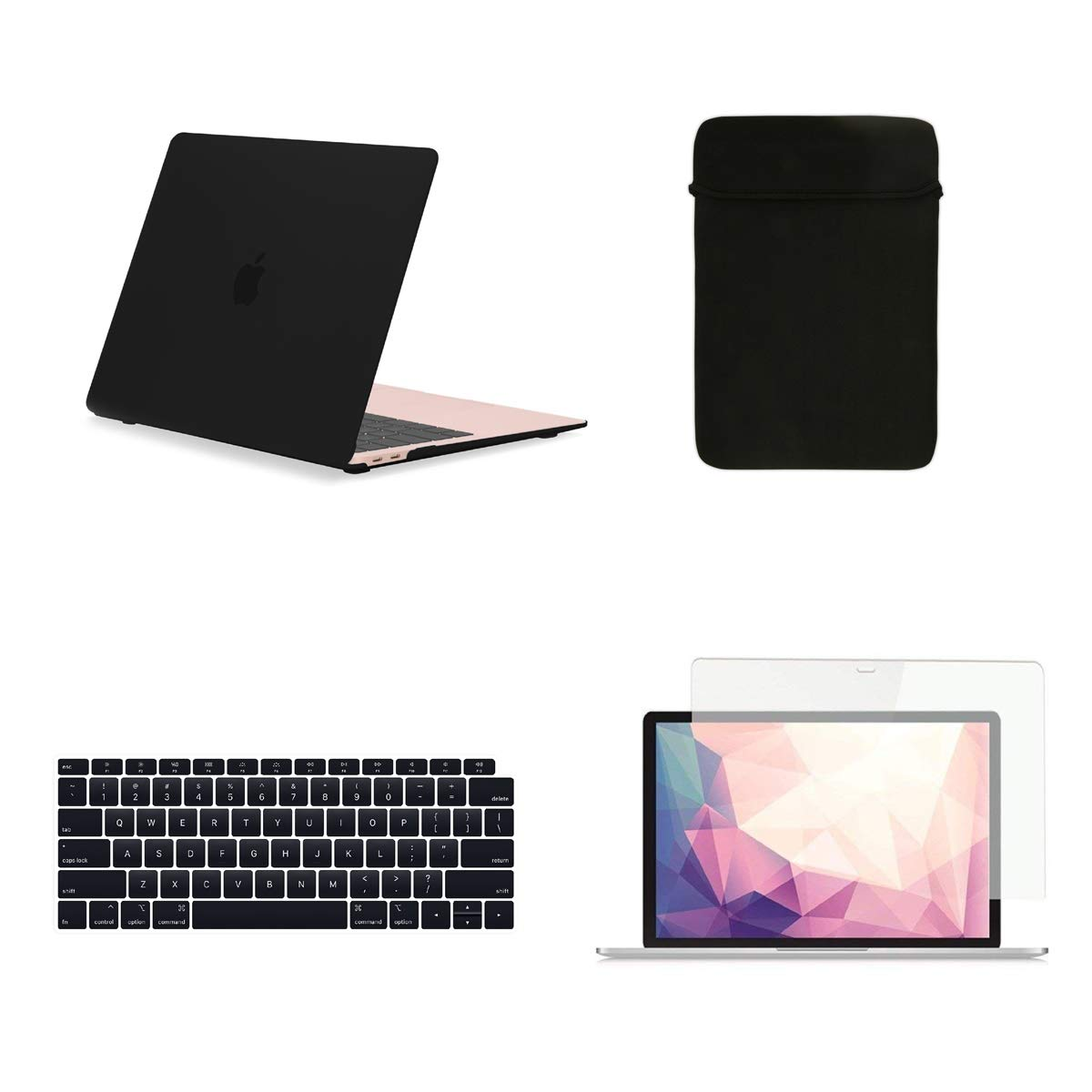 TOP CASE MacBook Air 13 Inch Case A1932/A2179 with Retina Display fits Touch ID 2020 2019 2018 Release, 4 in 1 Bundle Rubberized Hard Case, Keyboard Cover, Sleeve, Screen Protector - Black