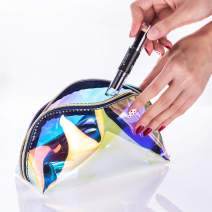 Hekyip Holographic Iridescent Makeup Bag, Large Capacity Clear Cosmetic Travel Bag Toiletry Pouch Makeup Organizer for Women (Bigger)