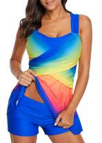 Shawhuwa Color Block Printed Tankini Swim Dress Two Piece Swimsuits for Women with Shorts
