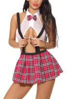 Nicetage Women Lingerie Outfits School Girl Role Play Costume Mini Plaid Skirt with Tie Top