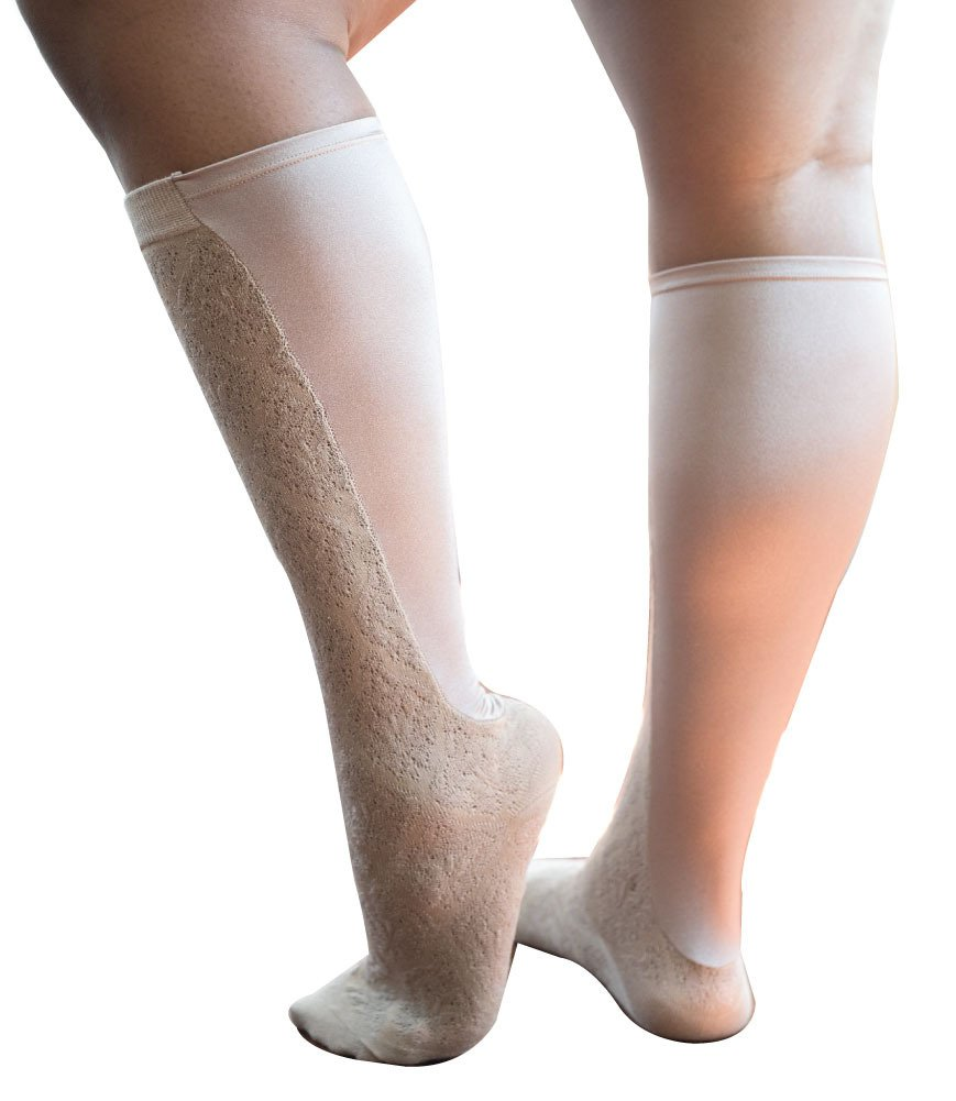Xpandasox Women's Plus Size/Wide Calf Brocade Cotton Blend Knee High Socks
