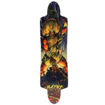 Rayne Longboards Baby Killer Longboard, Vert-Lam Bamboo Core, Pre-Tensioned Biax Fiberglass, Sublimated Artwork, Firm Flex, Radial Drop Platform, 3-Stage Rocker