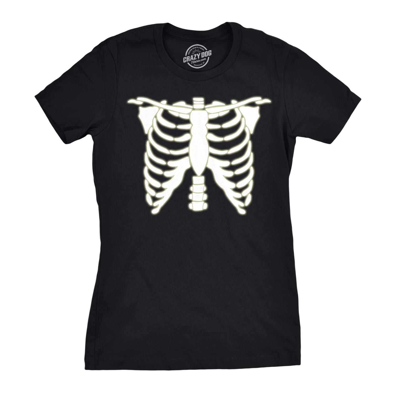 Womens Glowing Skeleton Tshirt Rib Cage Cool Halloween Glow in The Dark Tee