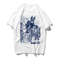 ROWILUX Men's Short Sleeve 100% Cotton Japanese Manga Cartoon Print Graphic Tee Shirt