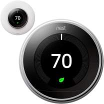 Google Nest Learning Smart Thermostat - 3rd Generation - Polished Steel T3019US Bundle with elago Wall Plate Upgraded Wall Mount Cover Designed for Google Nest Learning Thermostat - Matte White