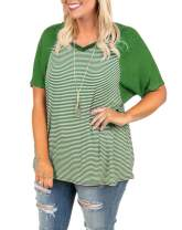 Womens Raglan Striped T-Shirt Plus Size Color Block V Neck Tee Shirt Short Sleeve Summer Casual Top