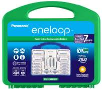 """Panasonic K-KJ17MC124A eneloop Super Power Pack 12AA, 4AAA, 2 C Adapters, 2 D Adapters, """"Advanced"""" Individual Battery Charger and Plastic Storage, (Case Color May Vary)"""