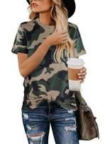 Women's Casual Cute Shirts Leopard Print Tops Basic Short Sleeve Soft Blouse