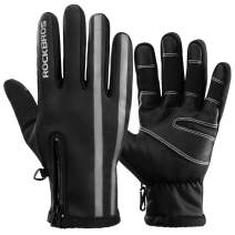 ROCK BROS Winter Thermal Gloves Windproof Warm Gloves Touch Screen Workout Gloves for Cycling Running Riding Outdoor Sports