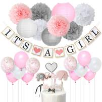 Baby Shower Decorations for Girls Pink White and Gray It's A Girl Banner, Elephant Cake Topper, Confetti Balloons, Paper Pom Poms for Baby Girl Shower Supplies
