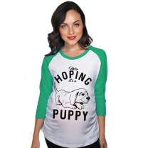 Crazy Dog T-Shirts Maternity Raglan We're Hoping It's A Puppy Pregnancy Announcement New Mom Tee