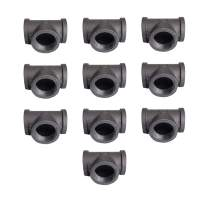 """GeilSpace Tee, Malleable Iron Pipe Fittings - Vintage DIY Industrial Shelving, Industrial Decor, Furniture DIY (3/4"""", Grey)"""