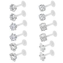 ZS 10-12Pcs 16G Clear Bioflex CZ Stone Labret Monroe Lip Ring Helix Tragus Cartilage Earrings Stud Piercing