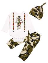 Baby Boy Camouflage Clothes,Newborn Funny Print Long Sleeve Bodysuit Top and Pant and Hat Outfits Set