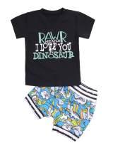 Toddler Baby Boy Clothes Summer Short Sleeve T-Shirt + Dinosaur Pant 2Pcs Outfits Set