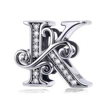 BAMOER 925 Sterling Silver Initial Letter A-Z Charms for Snake Chain Bracelet Necklace Alphabet Beads