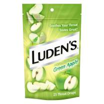 Luden's Cough Drops, Green Apple, 25 Drops, Pack of 12