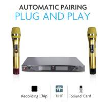 Starqueen Dual UHF Wireless Karaoke Speaker Microphones with USB Receiver for PA Speaker Computer PC Singing KTV, Cordless Handheld Portable Dynamic Mic Battery Powered with LCD Display