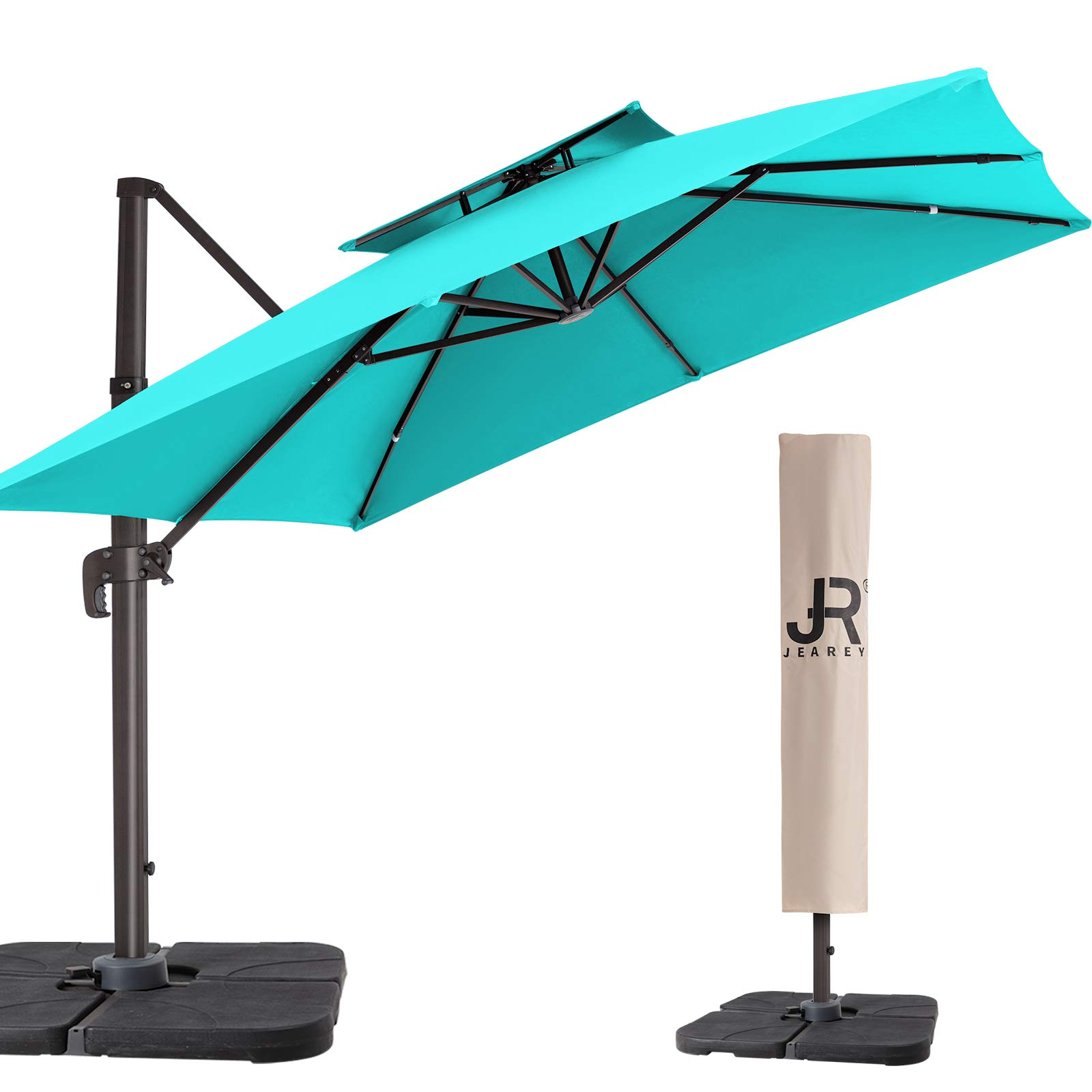 JEAREY 10FT Patio Umbrella Double Top Deluxe Square Hanging Patio Umbrella Offset Cantilever Outdoor Umbrella Heavy Duty Sun Umbrella for Market Garden Deck Backyard Pool Patio (SKY BLUE)
