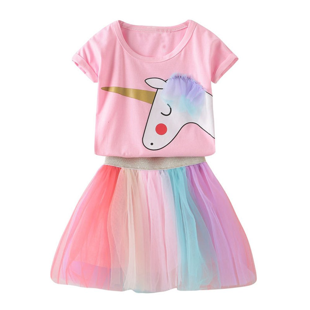 Toddler Kids Baby Girl Unicorn Top T-Shirt Lace Tutu Skirt Outfits Set Clothes Summer