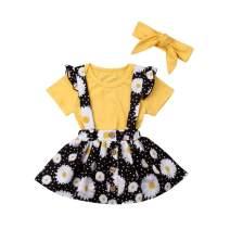VISGOGO Baby Girl Sister Matching Outfits Sunflower Short Sets Skirt Sets Romper Jumpsuit