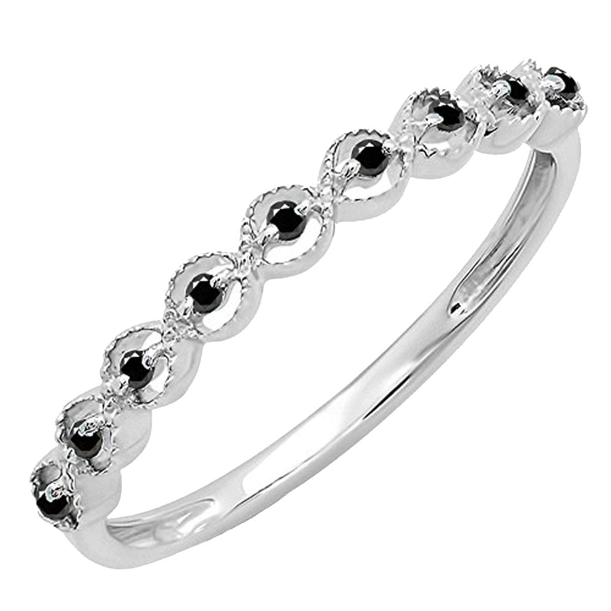 Dazzlingrock Collection Round Gemstone Ladies Anniversary Wedding Stackable Band Ring, Sterling Silver