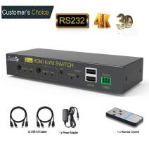 Kvm Switch 2 Port HDMI,Ultra HD 4k@30Hz with USB and HDMI Cables,Supports Auto-Match,EDID,Hot-key Switch,Compatible with System Win Vista,Win 7,Win 8.1,Win 10,Mac Os X or Greater,Linux,Unix and Others