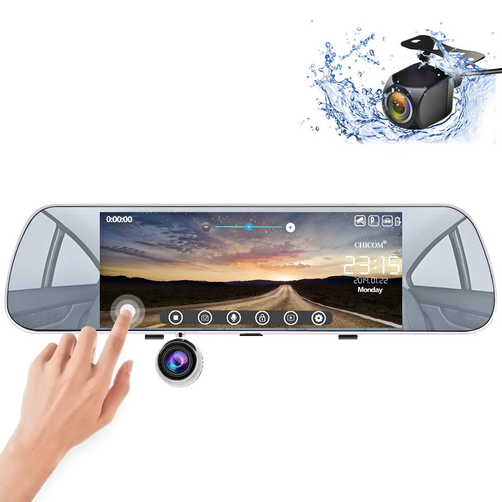 "Mirror Dash Cam, Backup Camera 7"" Dashboard Camera Touch Screen 1080P Front & 720P Rear Waterproof Reversing Camera"