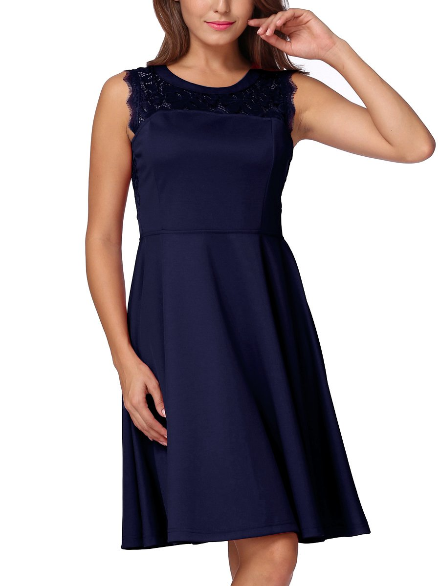 Mixfeer Women's A-Line Sleeveless Dress Lace Round Neck Pleated Cocktail Evening Party Dress