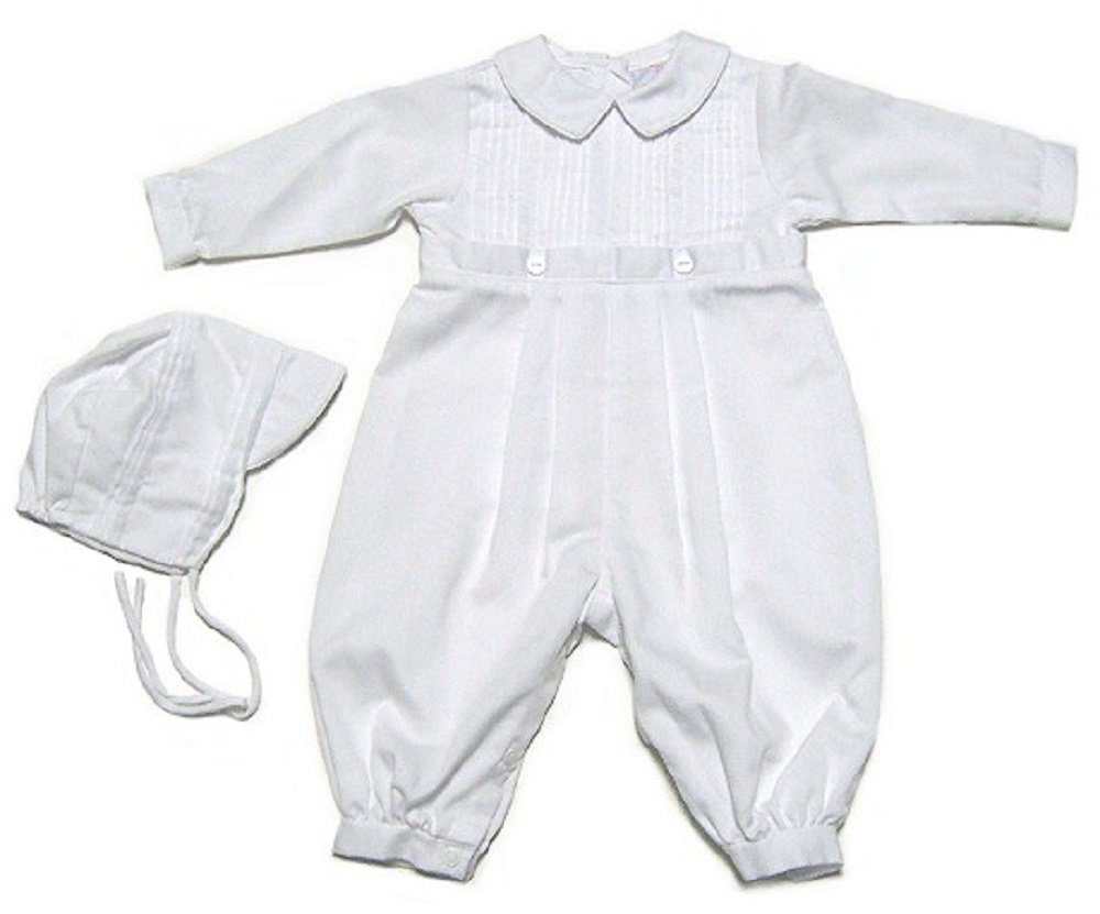 Baby Boys Christening Outfit, Pique Christening Baptism Long Sleeve (9 M) White