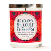 She Believed She Could So She Did | Orange, Mango, Goji Berry | Luxury Scented Soy Candles |10 Oz. Jar Candle | Made in USA | Aromatherapy | Friendship Gifts for Women for Women