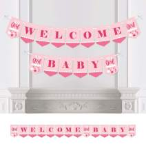 Big Dot of Happiness It's a Girl - Pink Baby Shower Bunting Banner - Party Decorations - Welcome Baby