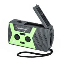 [2019 Upgraded Version] GREATONE Emergency Solar Crank Radio with Flashlight & Reading Lamp,NOAA Weather Radio,2000mAh Power Bank and SOS Alarm018WB (Dark Green)