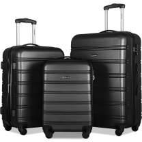 Merax Expandable Luggage Sets with TSA Locks, 3 Piece Lightweight Spinner Suitcase Set (Black2020)