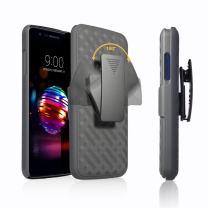 SOGA Cover Compatible for LG Phoenix Plus Case, LG K30 Case, LG K10 Plus 2018 Case, LG Premier Pro LTE Case, Holster Belt Clip Armor Defender Protective Case - Black