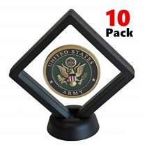 AIFUSI Coin Display Stands, 10 Pack 3D Floating Frame Ornament Display Holder Box with Stand Diamond Square for AA Medallion Challenge Coin Chip Jewelry Decorative - Ideal for Gift