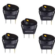 HOTSYSTEM DC12V 20A Round Rocker Toggle Switch ON-OFF Control SPST LED Illuminated 3Pin Triangle Plug for Car Motorcycle Boat Marine Truck Trailer Auto and More (Yellow,5-Pack)