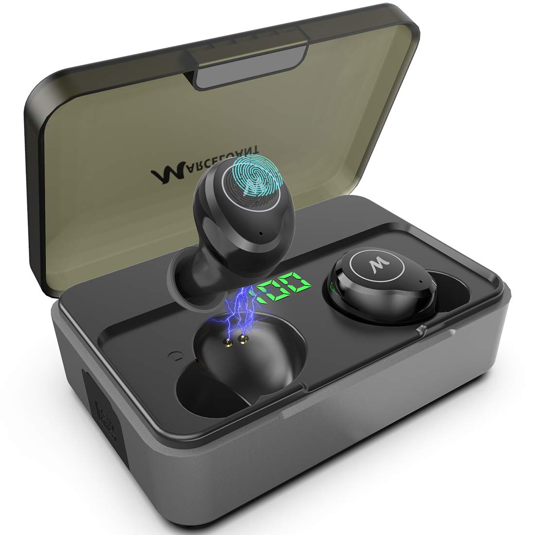 True Wireless Earbuds, Marceloant Bluetooth 5.0 Headphones High-Fidelity 3D Stereo Headphones in-Ear Built-in Mic Headset Premium Sound for iPhone and Android, 300H Cycle Play Time