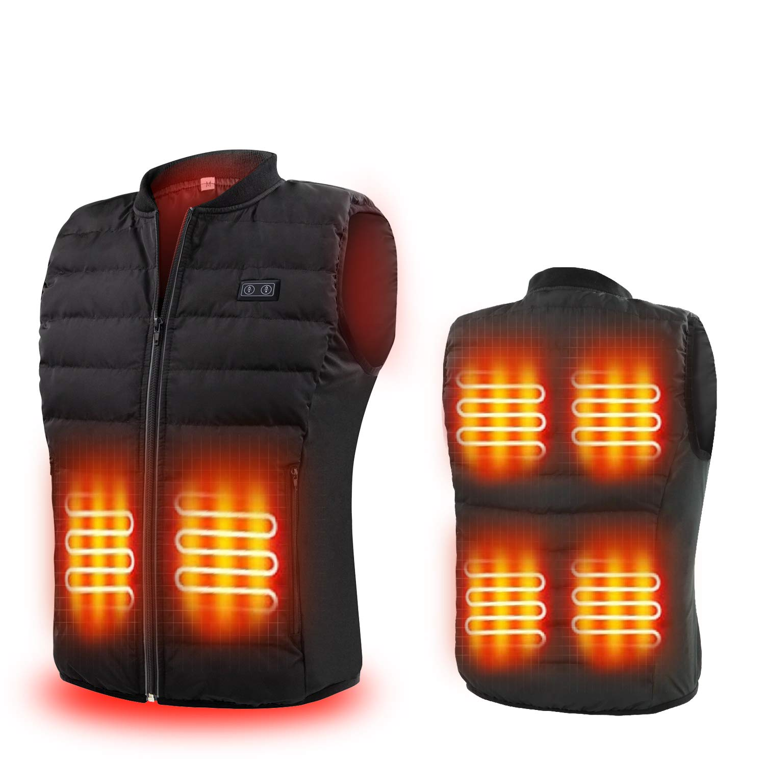 Heated Vest - Lightweight Washable Heating Puffer Jacket 7.4V Rechargeable Battery Pack Electric Charging Warm Waistcoat Clothing for Outdoor Hiking, Hunting, Motorcycle, Camping for Men&Women