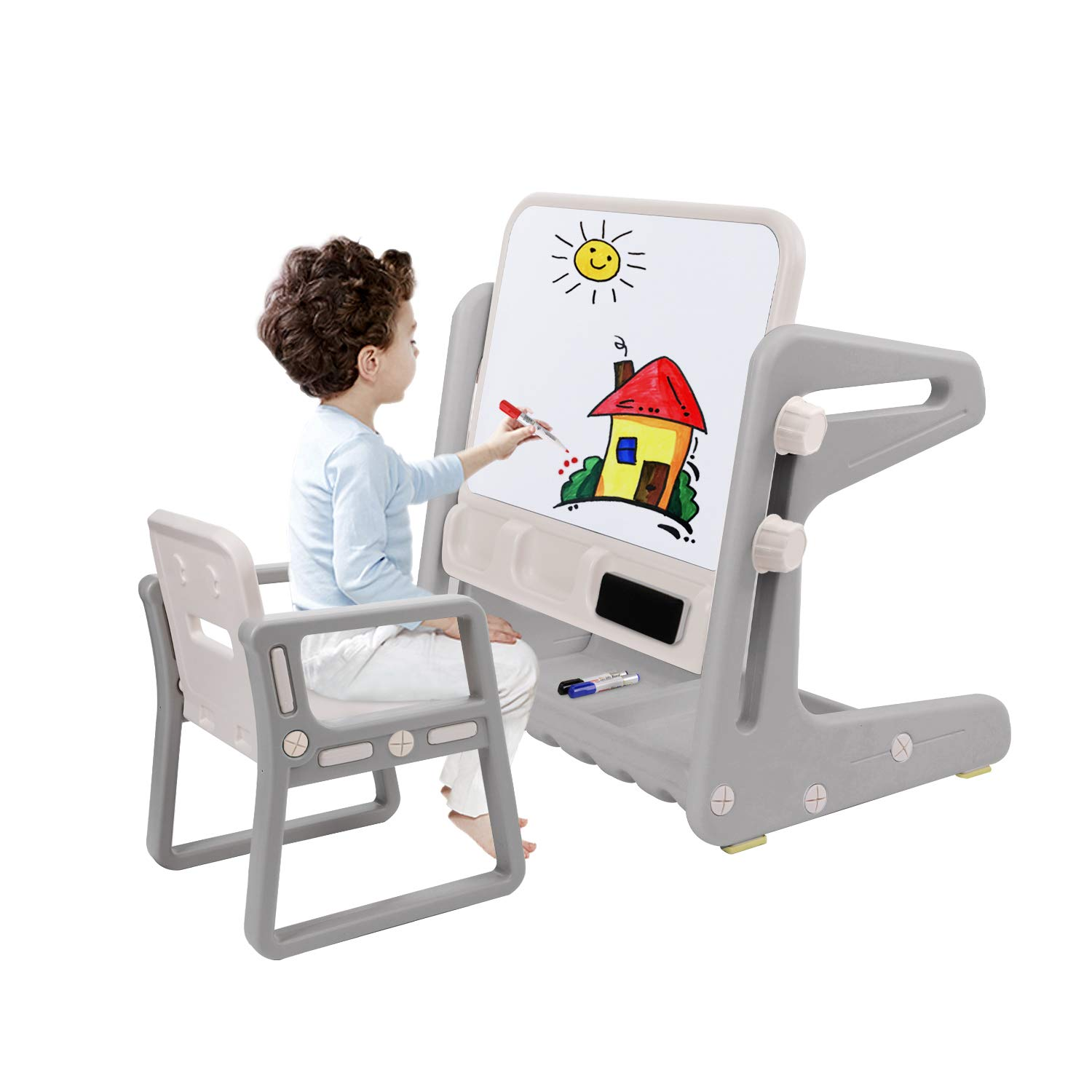 BAHOM Kids Art Easel with Chair, Painting Board for Toddlers with 3 Markers and 1 Eraser, Suitable for 1 to 5 Years Old