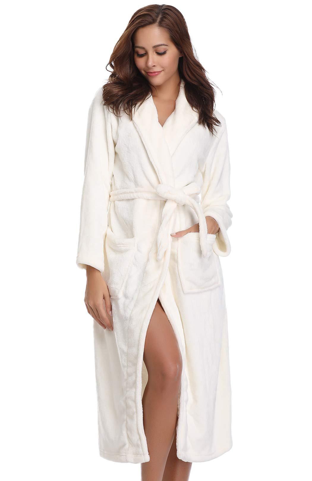 Vlazom Women S Warm Fleece Robe With Hooded Soft Plush Bathrobe Fluffy Long House Coat