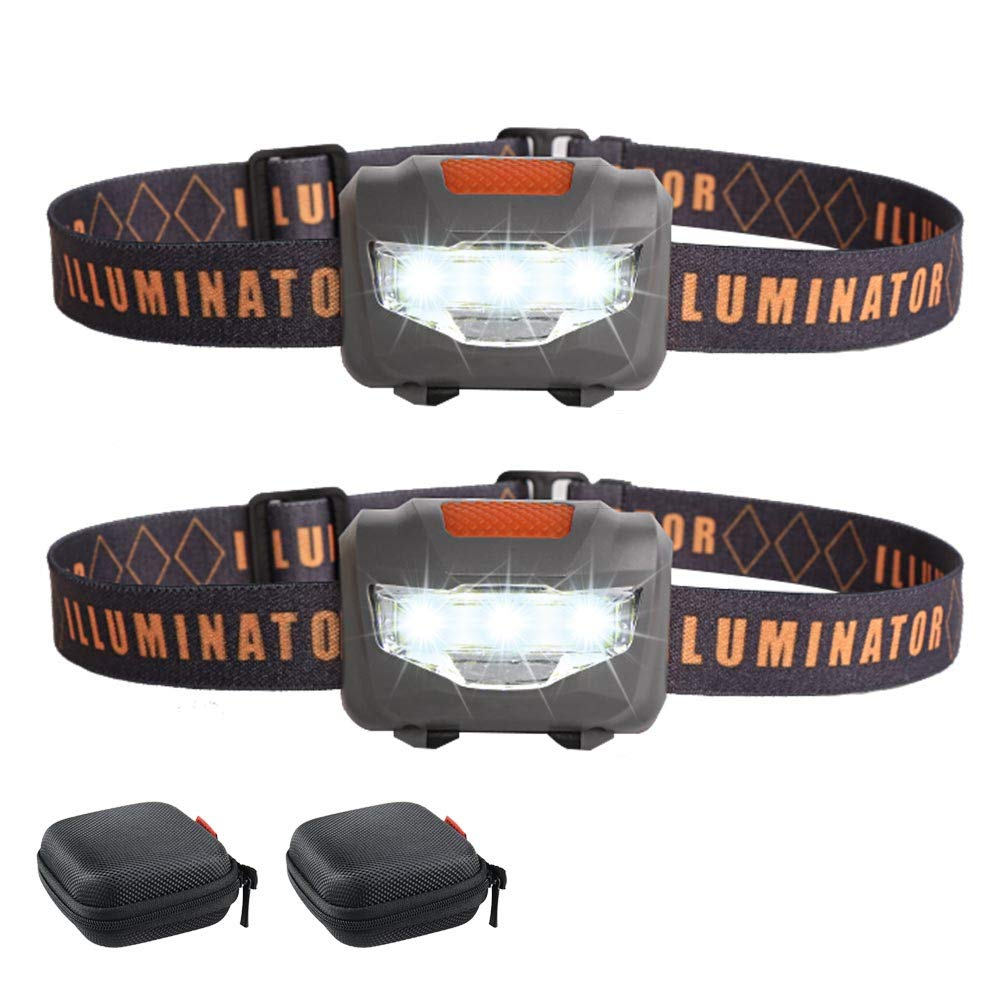 2 COB LED Headlamps Flashlights with 2 Portable Cases,COSOOS Bright Running Headlamp,Small Waterproof Head Lamp for Adults,Kids,Jogging,Hiking,Camping,Reading,Dog Walking,1.6oz/48g(NO AAA Battery)