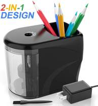 [Upgrade] Electric Pencil Sharpener Heavy-duty Helical Blade Colored Pencil Sharpener with Adapter/Battery Operated for No.2/ (6-8mm) Pencils with Auto Stop & Cleaning Brush in School/Classroom/Office