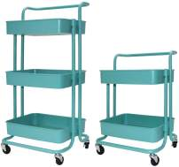 Asunflower Rolling Cart Kitchen Trolley 3 Tier Storage Shelf with Wheels Adjustable Service Cart for Office/Bathroom