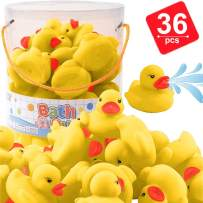 Liberty Imports 36 Pieces Classic Rubber Duck Bath Toys - Float Squeak Squirt Duckies for Baby Shower, Party Favors, Kids Gifts (Yellow)