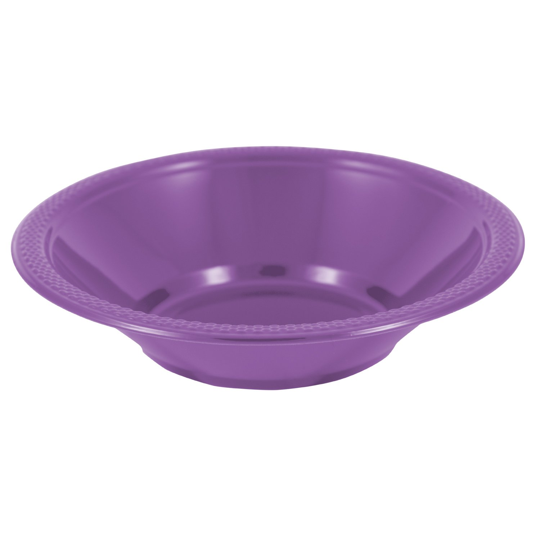 JAM PAPER Disposable Plastic Bowls - Small - 12 oz (7 Inch Diameter) - Purple - 20/pack